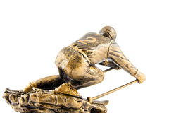 Gold ski champion statuette award Stock Photography