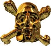 Gold skull and cross bones. Macro view of golden skull and cross bones isolated on white background vector illustration