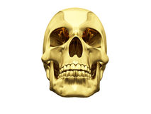 Gold skull over white Stock Photos