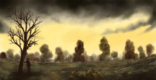 Gold Sky. A man standing under a tree in a painterly landscape illustration Stock Images