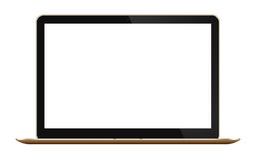 Gold Slim Laptop  on white background Royalty Free Stock Photography