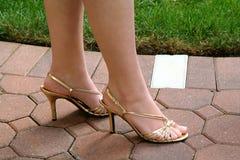 Gold Slingback Heels Royalty Free Stock Photos