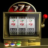 Gold slot fruit machine with 777 Royalty Free Stock Image
