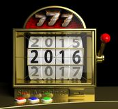 Gold slot fruit machine with New year 2016. On display Royalty Free Stock Images