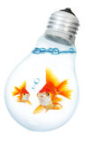 Gold small fish in light bulb Royalty Free Stock Photo