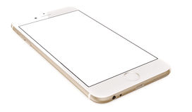 Gold Smartphone with blank screen on white background Royalty Free Stock Photography