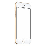 Gold smartphone mock-up CCW slightly rotated with blank screen Royalty Free Stock Photography