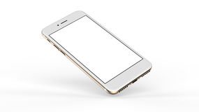 Gold smartphones with blank screen. Stock Photo