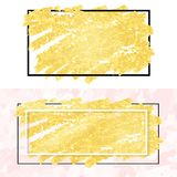 Gold smear and frame Royalty Free Stock Image