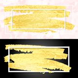 Gold smear and frame Stock Photos