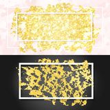 Gold smear and frame. Vector illustration of gold paint smudge and frame for design of banners, cards, posters, tickets Royalty Free Stock Photos