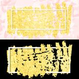 Gold smear and frame. Vector illustration of gold paint smudge and frame for design of banners, cards, posters, tickets Stock Photography
