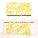 Gold smear and frame. Vector illustration of gold paint smudge and frame for design of banners, cards, posters, tickets Stock Photo