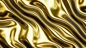 Gold smooth waves 3d rendering Royalty Free Stock Photography
