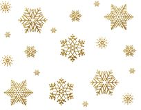Gold snow. Stars on white background Stock Images