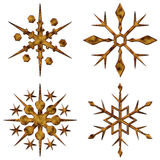Gold snow crystals set Stock Photos