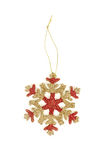 Gold snow flake Christmas tree topper Stock Image