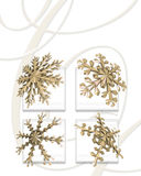 Gold snow flakes. A decorative illustration of 3d snowflakes with space left for copy Royalty Free Stock Image