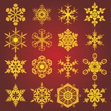 Gold snow-flakes. Raster version of vector set of gold snow-flakes Royalty Free Stock Photography