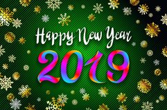 Gold snow 2019 happy new year on the snowflakes background. vector illustration Inflatable Gold Numbers on the green Background ar. Gold snow 2019 happy new year vector illustration
