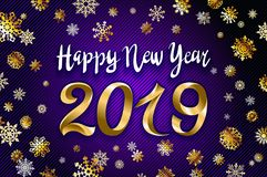 Gold snow 2019 happy new year on the snowflakes background. vector illustration Inflatable Gold Numbers on the violet Background a. Gold snow 2019 happy new year vector illustration