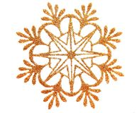 Gold snow star. Gold brocade snow star isolated on white royalty free illustration