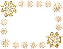 Gold snow stars frame Stock Images