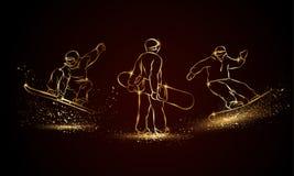 Gold Snowboarder set. Golden linear snowboard sport illustration for sport banner, background and flyer. Gold Snowboarder set. Vector Golden linear snowboard Royalty Free Stock Photo