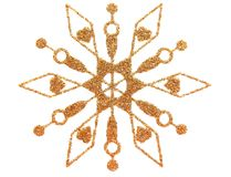 Gold snowflake. Gold brocade snow star isolated on white vector illustration