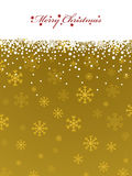 Gold snowflake background. Christmas gold snowflake background with banner and text Stock Photography