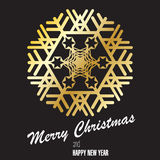 Gold snowflake on black background. Postcard, congratulating. Merry Christmas, Happy New Year. Vector image Royalty Free Stock Photography