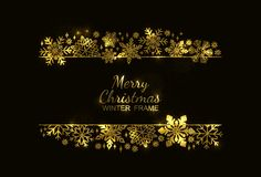 Gold snowflake frame, black background, Xmas design stock illustration