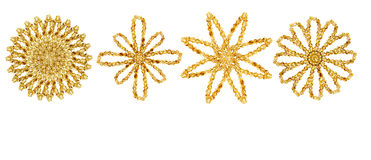 Gold snowflake ornaments Royalty Free Stock Image