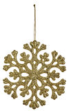Gold snowflake shape decoration isolted on white Stock Photo