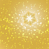 Gold snowflake and snow abstract background. Stock vector royalty free illustration