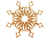 Gold snowflake on white. Gold brocade snow star isolated on white royalty free illustration
