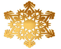 Gold snowflake on a white background Stock Photos
