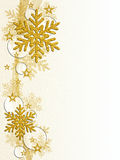 Gold snowflakes. Background of gold snowflakes stars ribbon and Crystal Spheres Stock Image