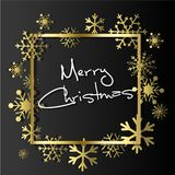 Gold Snowflakes on black background. Winter Holidays banner. Royalty Free Stock Images