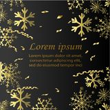 Gold Snowflakes on black background. Winter Holidays banner. Stock Image