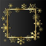 Gold Snowflakes on black background. Winter Holidays banner. Royalty Free Stock Photography
