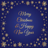 Gold snowflakes frame Christmas and New Year. Vector deep blue square background with frame of elegant golden snowflakes and script type text: Merry Christmas Royalty Free Stock Images