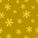 Gold snowflakes. Golden seamless background. The falling snowflakes. Seamless background. 3D snowflakes. New year Christmas. Paper packing royalty free illustration