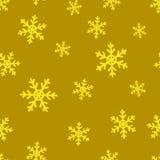 Gold snowflakes. Golden seamless background Stock Photo