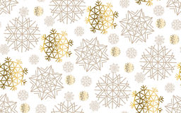 Gold snowflakes luxury pastel color seamless pattern. 