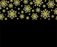 Gold snowflakes pattern. Gold snowflakes on transparent and black background vector illustration