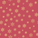 Gold snowflakes seamless pattern on a red background. EPS 10. Vector file royalty free illustration