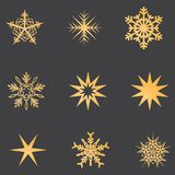 Gold snowflakes set with shadow. royalty free stock images