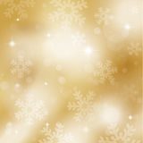Gold snowflakes and stars Royalty Free Stock Photos