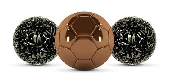 Gold soccer ball and abstract metal ball on white background. Golden football ball. Bronze 3d ball.  stock illustration